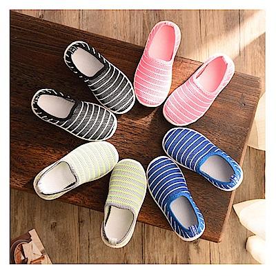 春夏條紋兒童透氣網狀帆布鞋
