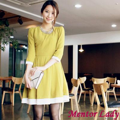 螢光亮彩配色滾邊洋裝 (綠色)-Mentor Lady