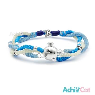AchiCat 蠶絲蠟繩手鍊 925純銀飾 海底探險