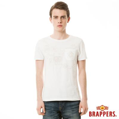 BRAPPERS 男款 配色繡花短袖T恤-米白