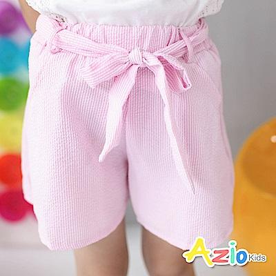 Azio Kids 童裝-短褲 直條壓紋附綁帶短褲(粉)