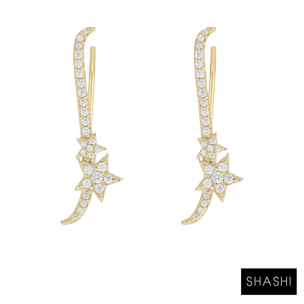 SHASHI 紐約品牌 鑲鑽星星貼合耳廓耳環 925純銀鑲18K Star Climber