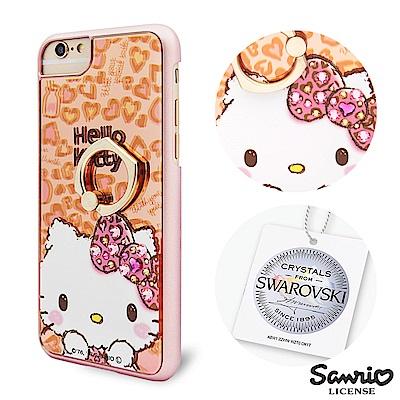 三麗鷗 Kitty iPhone8/7/6s 施華彩鑽鏡面指環扣手機殼-豹紋凱蒂