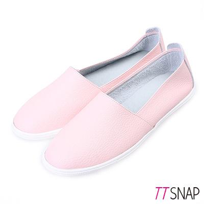 TTSNAP樂福鞋-MIT全真皮韓系懶人休閒鞋 粉