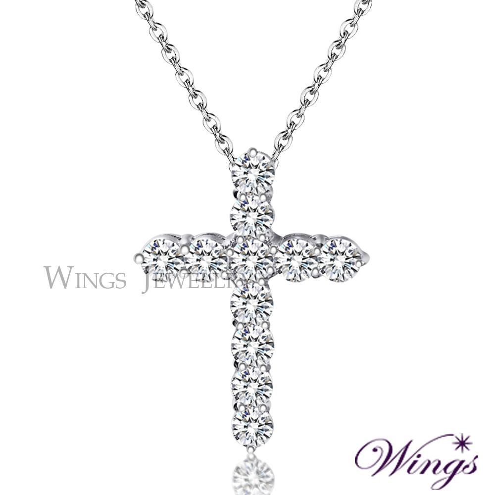 Wings 聖潔之心 經典十字架 八心八箭方晶鋯石項鍊