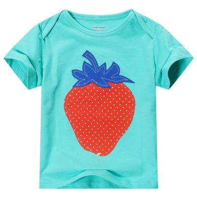 歐美風格設計 小童女童短棉T居家外出 小草莓 翠綠色