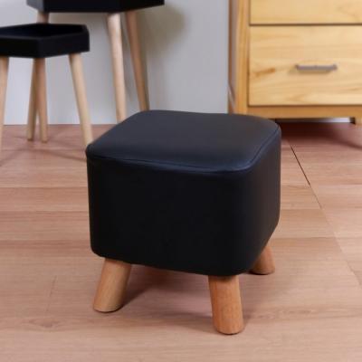 漢妮Hampton亞緹皮革小腳凳-黑色