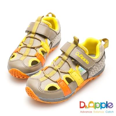 Dr. Apple 機能童鞋 活力青春印花超透氣涼童鞋-黃