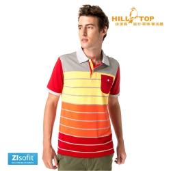 【hilltop山頂鳥】男款ZIsofit吸濕排汗彈性POLO衫S14ME8仿黃