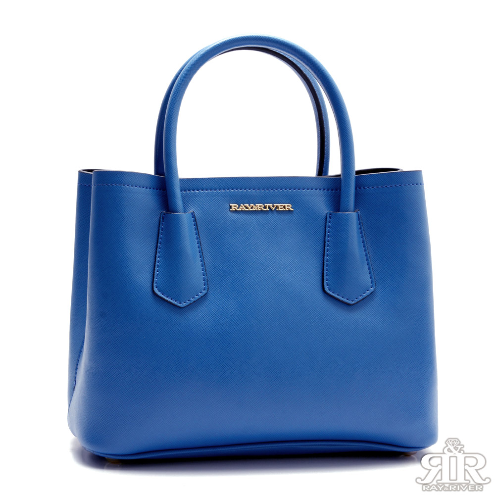 2R 十字紋防刮牛皮Beauty Bag 希臘藍