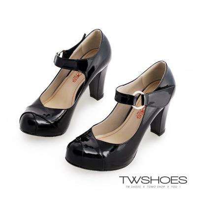 TWshoes真皮亮面瑪莉珍粗高跟鞋-黑漆