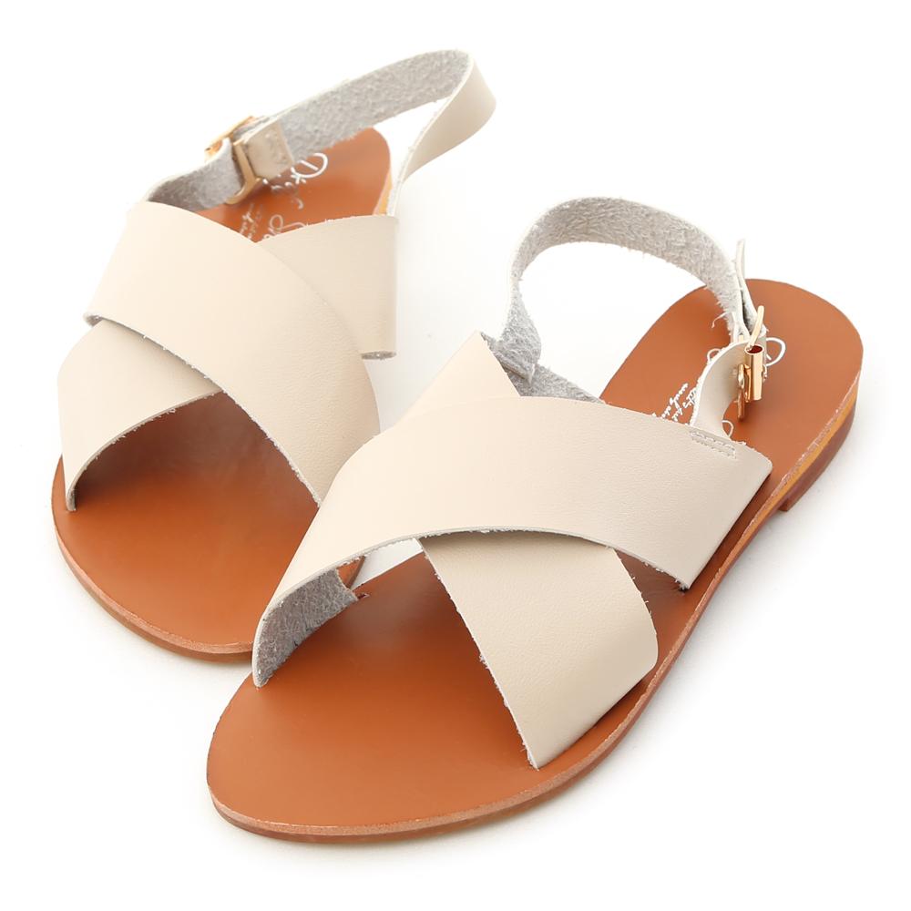 D+AF 舒適步調.交叉寬帶造型平底涼鞋*米杏