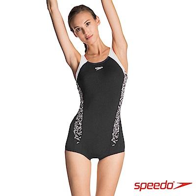 SPEEDO 女 運動連身平口泳裝 Boom Splice ELL 黑白