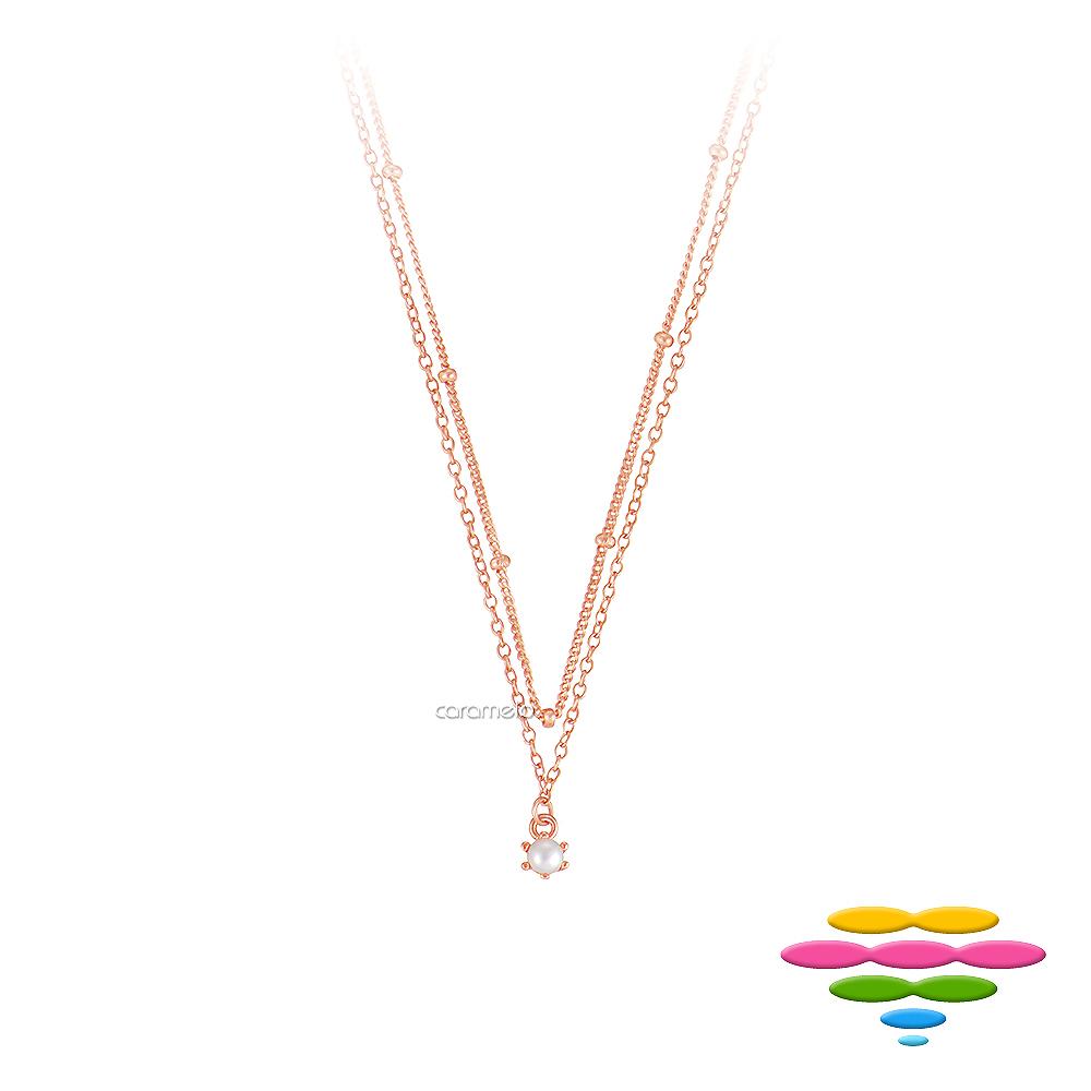 彩糖鑽工坊 淡水珍珠項鍊 玫瑰金雙鍊項鍊 桃樂絲Doris系列