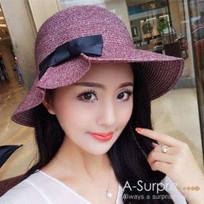 A-Surpriz 標緻蝴蝶混色折疊遮陽帽(棗紅)
