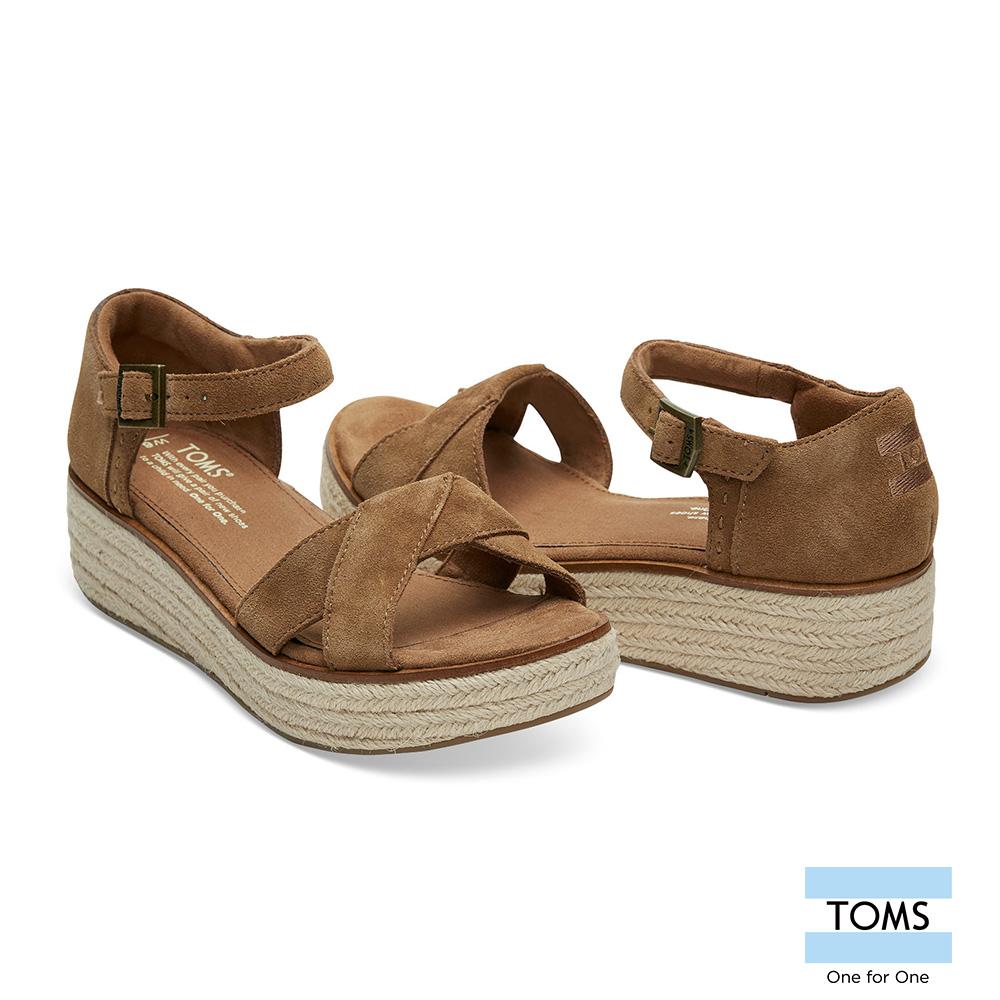 TOMS 麂皮草編魚口楔型鞋-女款