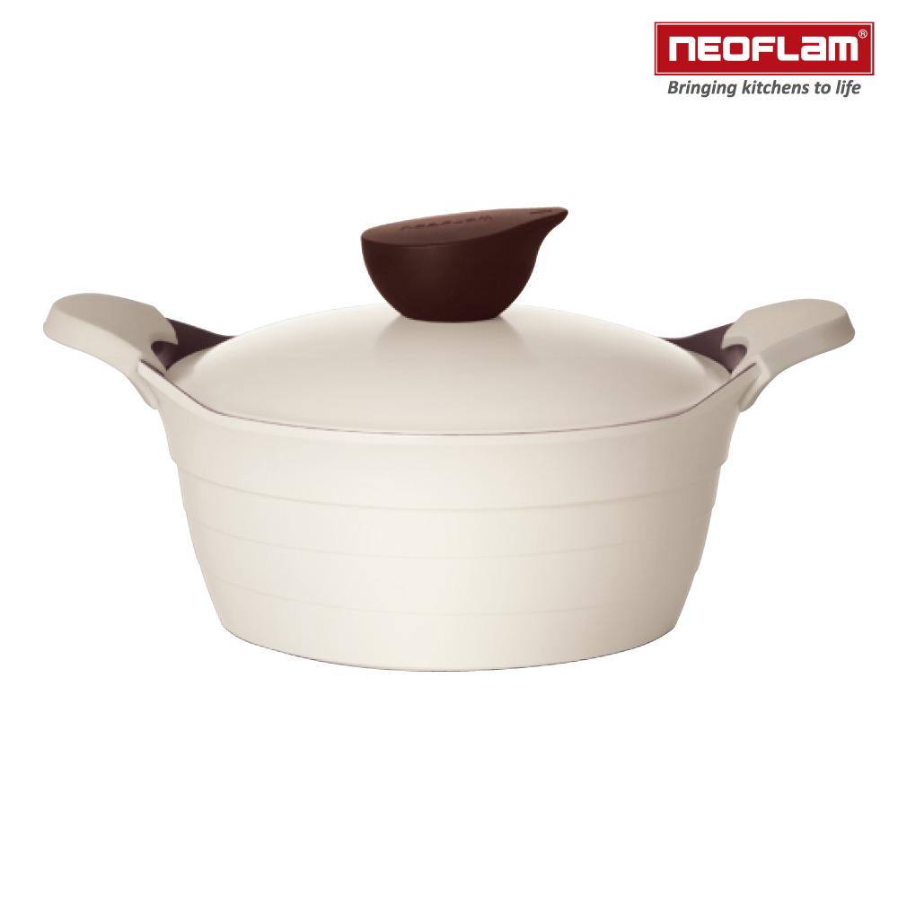 韓國NEOFLAM Eela系列 24cm陶瓷不沾湯鍋+陶瓷塗層鍋蓋(電磁)