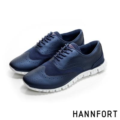 HANNFORT ZERO GRAVITY動感牛津翼紋雕花氣墊鞋-女-前衛藍