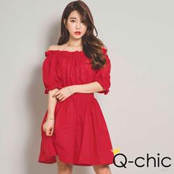 正韓 一字領甜美抓褶收腰洋裝 (紅色)-Q-chic