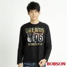 BOBSON 男款06印圖長袖上衣(黑88)