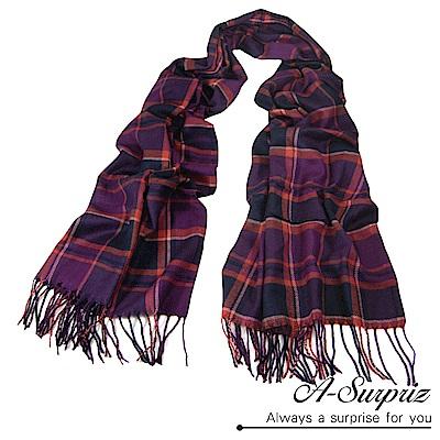 A-Surpriz 英倫格紋加大針織厚圍巾(紫橘)