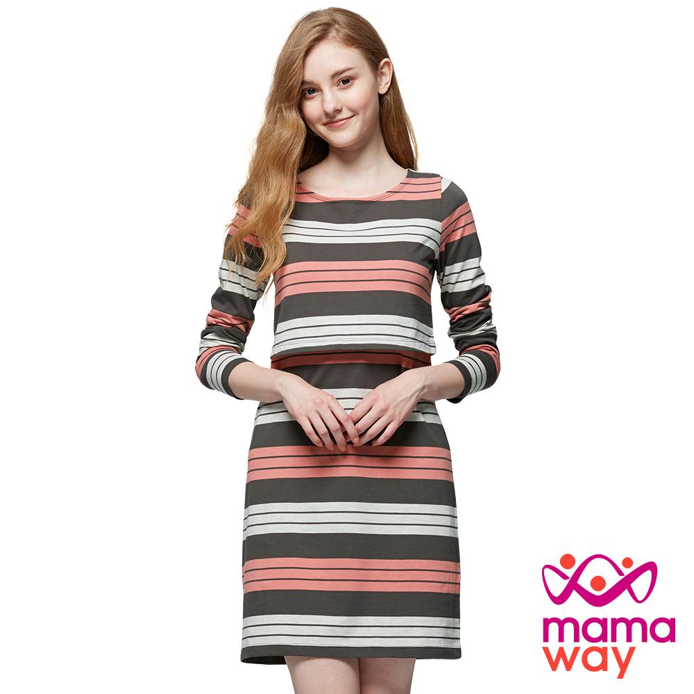 mamaway媽媽餵 橫紋孕哺洋裝(共2色)