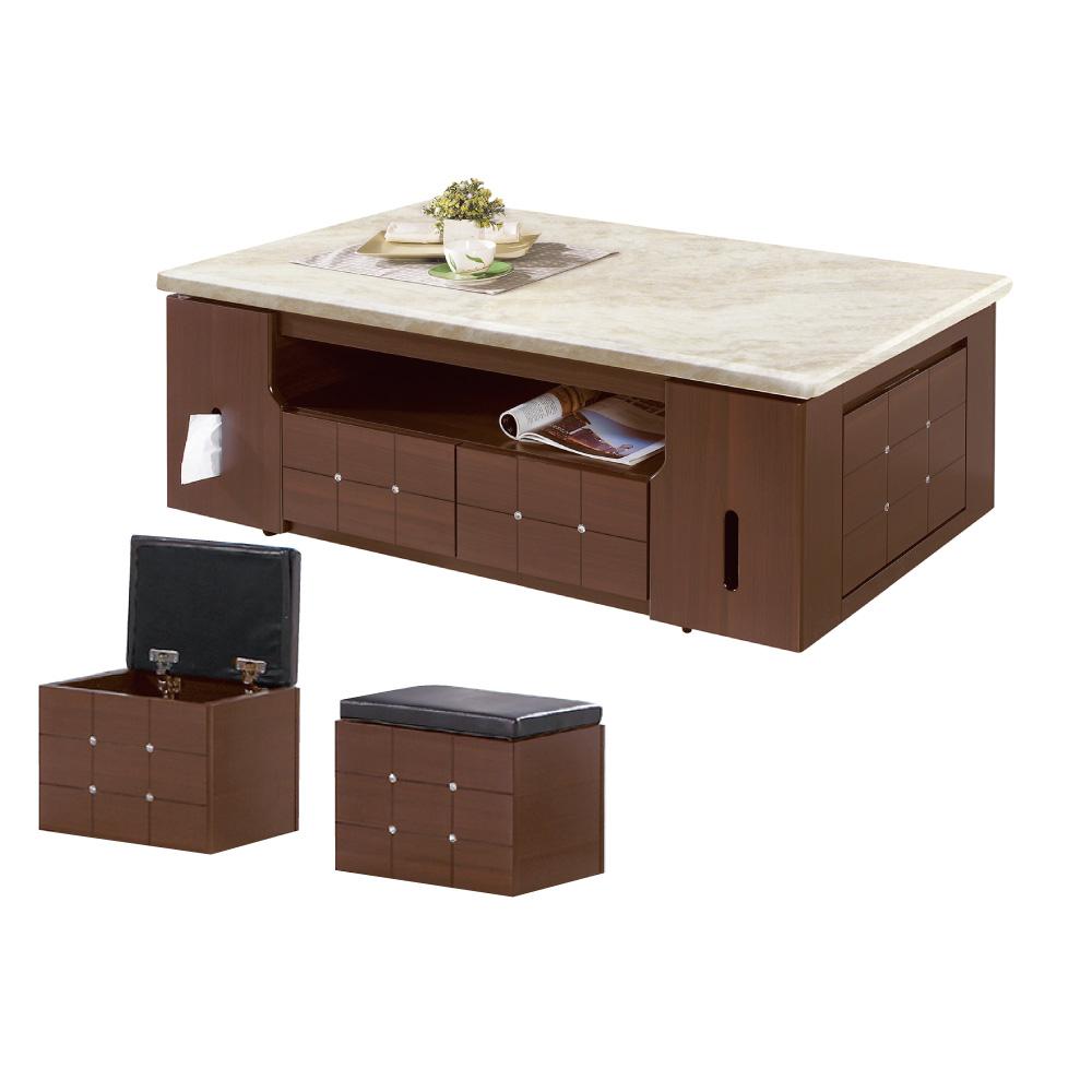 品家居 綠蒂5尺胡桃木紋石面大茶几(含椅凳2入)-150x90x45cm免組