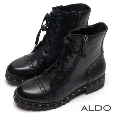 ALDO 黑色真皮幾何鉚釘雙拉鍊短靴~尊爵黑色