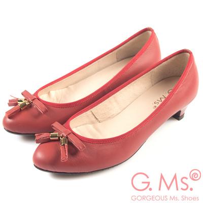 G.Ms. MIT系列-牛皮流蘇蝴蝶結小尖頭低跟鞋-心動紅
