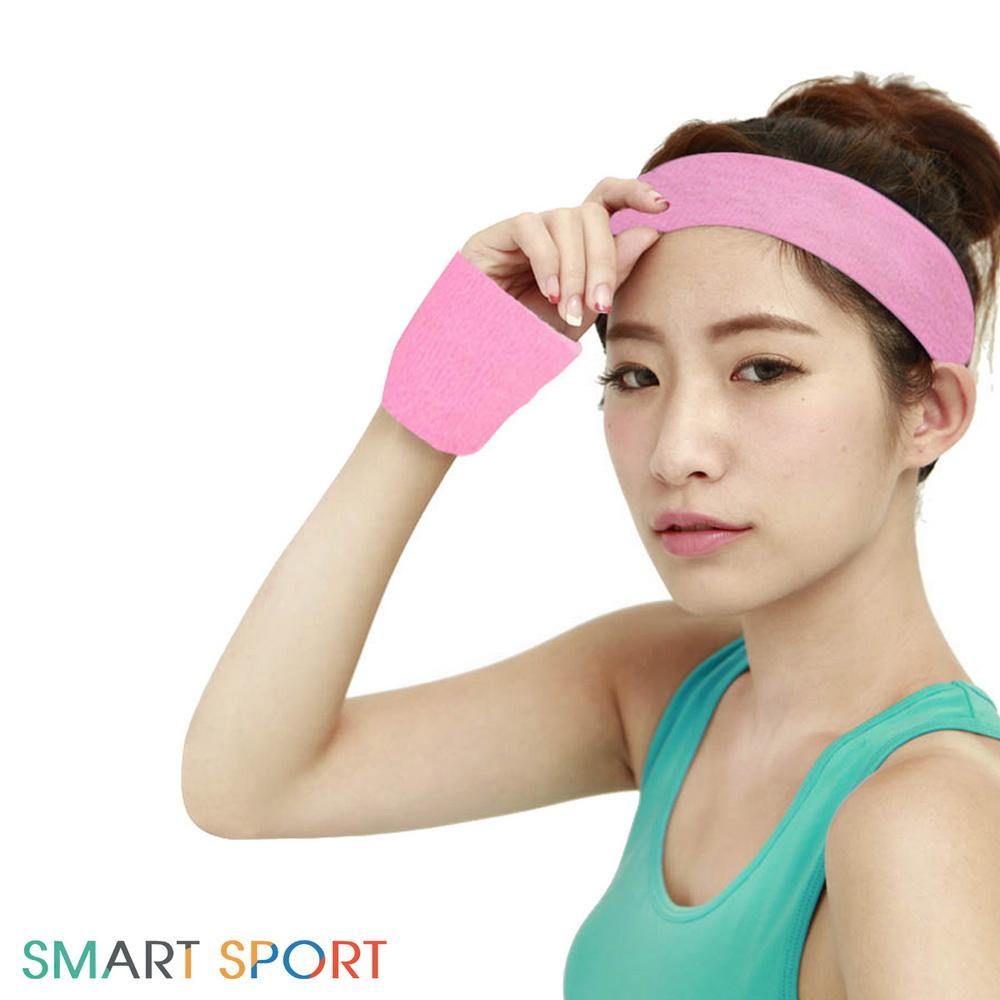 SMART SPORT 台灣製造100%純棉運動頭帶腕帶組-素色款2+2(桃氣紅)-快速