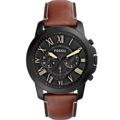 FOSSIL Grant經典復刻計時真皮手錶-黑X咖啡/44mm
