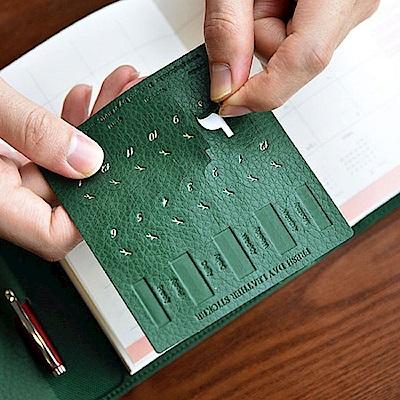 PLEPIC 鮮葉造型皮革標籤貼-森林綠