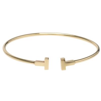 TIFFANY&Co. T系列18K金T LOGO造型窄版線圈手環(中)