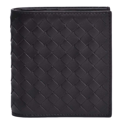 BOTTEGA VENETA 經典皮革編織直式六卡短夾(巧克力色)
