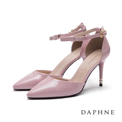 達芙妮DAPHNE 高跟鞋-珍珠綴跟蝴蝶結踝帶尖頭鞋-粉