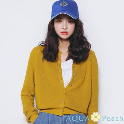 純色質感單排釦針織外套-共三色-AQUA-Peach
