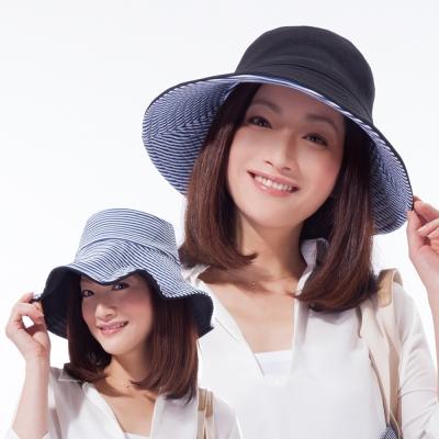 日本sunfamily 雙面雙色可折疊海軍風抗UV帽(黑/藍白條紋雙色)
