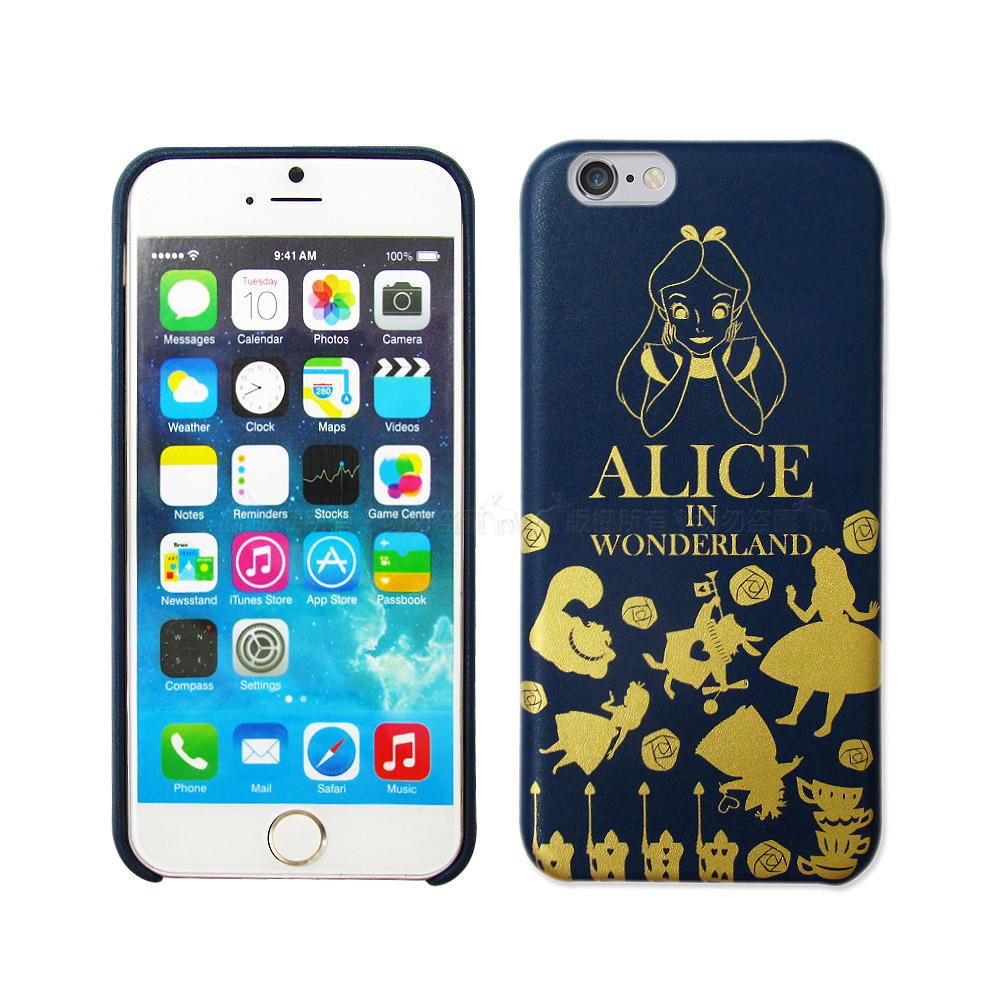 迪士尼魔鏡夢遊仙境iPhone 6s plus 5.5吋精緻燙金皮革手機殼愛麗絲