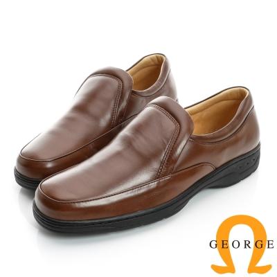 GEORGE-厚底素面真皮方頭鞋-棕色