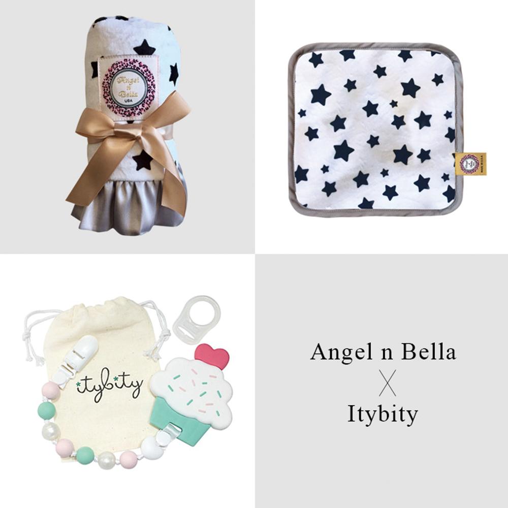 Angel n Bella 許願星星愛戀彌月禮盒(含奶嘴咬咬練固齒器夾)