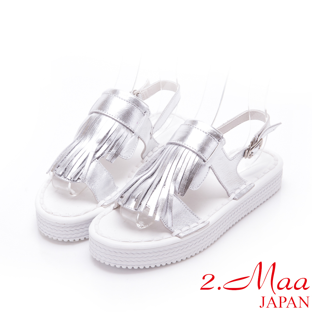 2.Maa-獨家設計流蘇荔枝紋牛皮休閒涼鞋-銀