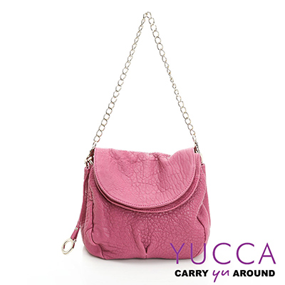 YUCCA - 熱銷款甜美鏈帶羊皮包-桃紅色- C8033142C37