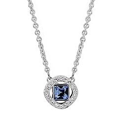 SWAROVSKI 施華洛世奇 方形藍白水晶造型銀色項鍊