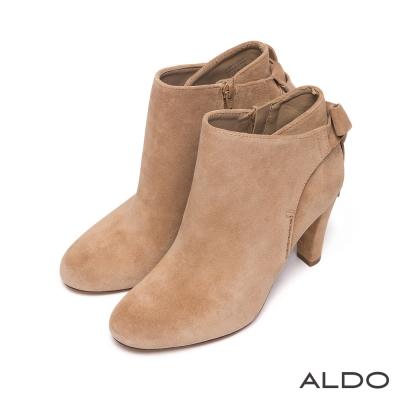 ALDO-原色麂皮蝴蝶領結切口高跟短靴-氣質裸膚