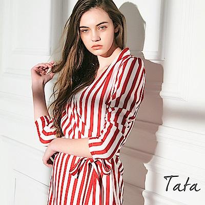 綁帶條紋洋裝 TATA