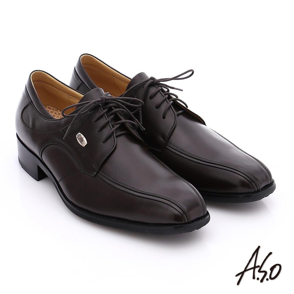 A.S.O 超輕雙核心 牛皮小方楦綁帶奈米紳士鞋 咖啡色
