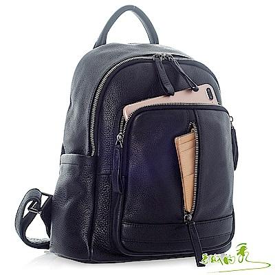 手感的秀 韓國小牛皮旅人防盜方袋後背包(時髦黑)