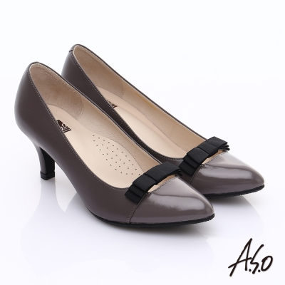 A.S.O 輕透美型 鏡面拼接牛皮蝴蝶飾尖頭跟鞋 灰