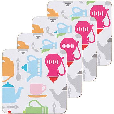 KitchenCraft 木質杯墊4入(下午茶)
