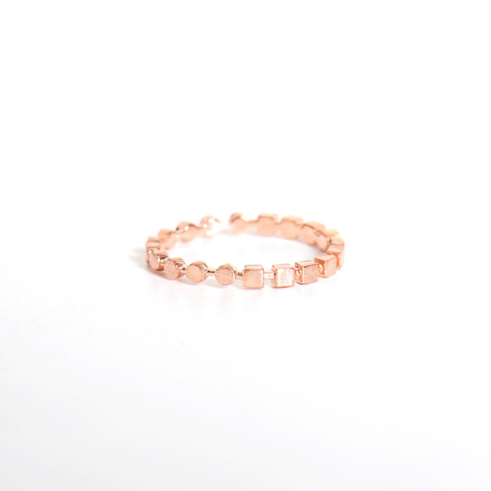 微醺禮物 戒指 正韓 純銀 鍍K金 鋯石 一半方一半圓 創意 女戒